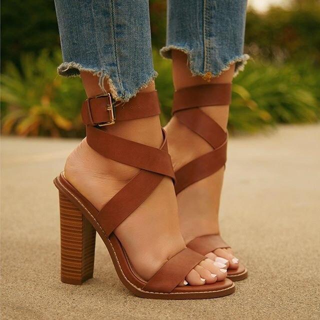 0ac7936a4578b Buckle Strap Sandal Shoes PU Women Square Heels Sandals Casual Gladiator  Shoes High Heels LALA IKAI Footwear 0510