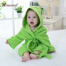 HAKOONA Boys and Girls Children's Hoodid Towel Cartoon Robe Cotton Loungewear Suitable for 0-6 Years Old Kids Bathrobes