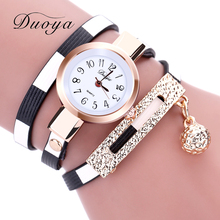 2017 DUOYA New Fashion Watches Women Pendant Gold Luxury Women Leather Bracelet Watch Ladies Vintage Dress Quartz Wristwatch
