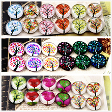 12pcs/lot (One Set) Three Style 12mm Fashion Tree Handmade Glass Cabochons Pattern Domed Jewelry Accessories Supplies