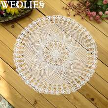 Flower Tablecloth Vintage Cotton Round Hand Crocheted Lace Doily Placemat Mat Home Table Decorative Textiles 60cm White