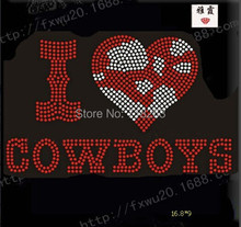 China factory supply cowboys with words image hotfix rhinestones motif heat trasnfer for cloth(China)