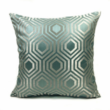 Contemporary Geometric Pillows Brown Light Green Dark Gray Jacquard Woven Decorative Cushion Cover Square Pillow Case 45 x 45 cm