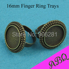 50 Pieces 16mm Vintage Brass Ring Setting, Victorian Bead Edged Ring Tray, Adjustable Bezel Ring for 16mm Cabochon