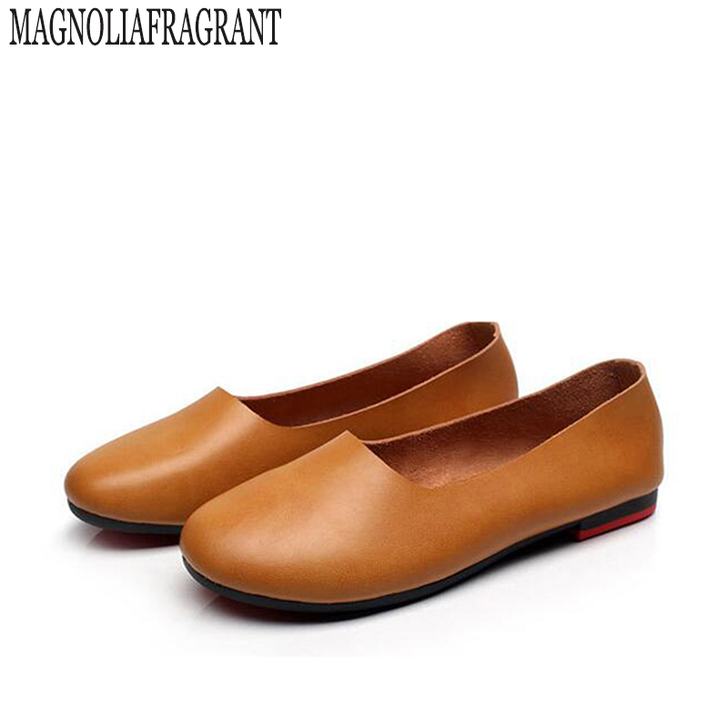 2017 Retro Shoe Women Handmade Shoes Genuine Leather Soft Safe Flats Autumn Driving Shoes Pointed Toe Women Flats large size