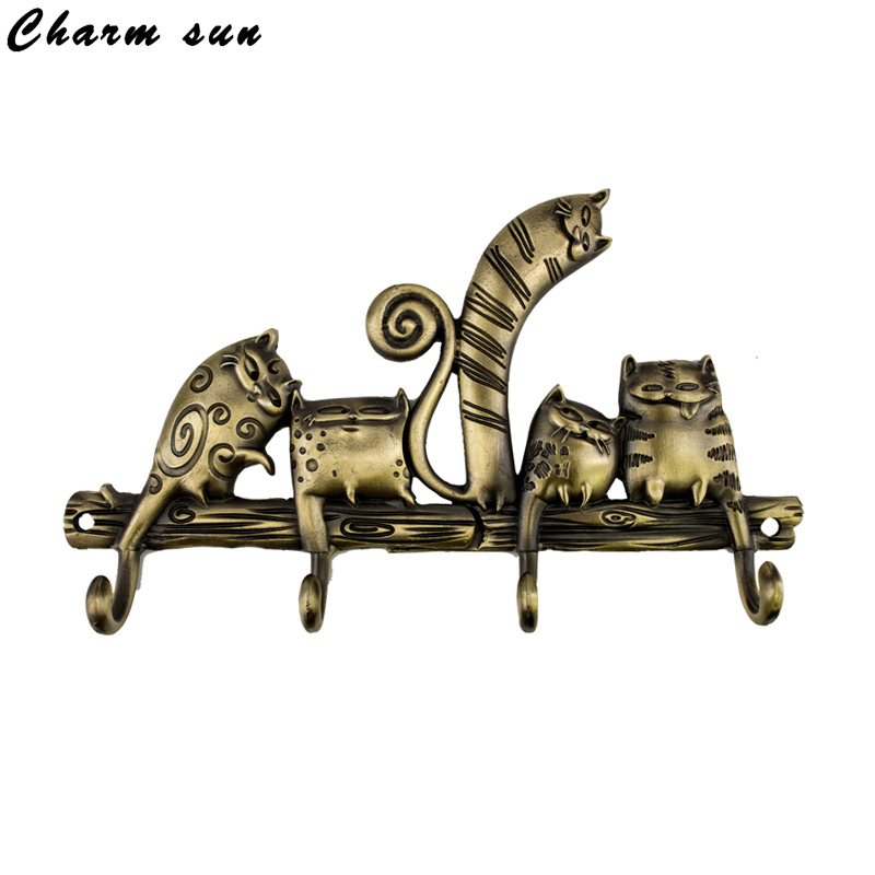 "Free shipping practical gifts. Exclusive Design ""Lovely cartoon cat"" clothes hooks .child's room / living room Metal charm hooks(China (Mainland))"