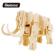 dinosaur kids Robotime DIY 3D Wooden Puzzle Parent-Child Interactive Mammoth Can be Painted A400(China)