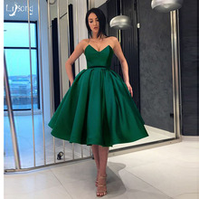 b9b04483a41 Elegant Dark Green Emerald Knee Length Pleated Prom Ball Gown Dress  Strapless Women Evening Event Party