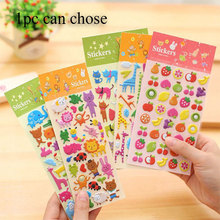 3D Sponge Bubble Stickers Cute Cartoon Animals Zoo DIY Sticker Lovely Cat Fruit Giraffe For Album Notebook Calendar Decor Toys(China)