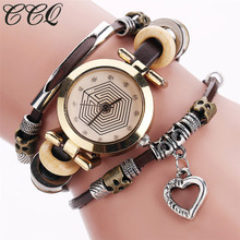 Buy CCQ Fashion Vintage Leather Bracelet Watches Women Casual Love Heart Pendant Wrist Watch Quartz Watch Relogio Feminino Gift 2064 for $2.99 in AliExpress store