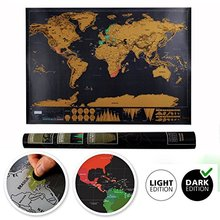 New 1 Piece Black Deluxe Travel Map Travel Tracker Poster World Map Travelogue Globe Map Gift For Travelers(China)