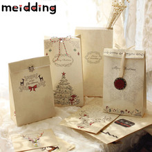 MEIDDING 6pcs Xmas Kraft Paper Hand Painted Elegant Guests Gift Box High Grade Wedding/Christmas/Celebration Party Bags Supplie