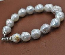 11-14mm Fine luster Natural color Kasumi cultured pearl bracelet Free shipping(China)