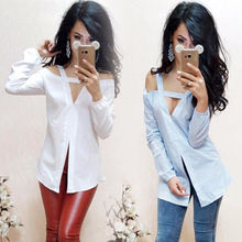Fashion Women's Ladies Summer Long Sleeve Off Shoulders Shirt Loose Casual Blouse Tops Shirt