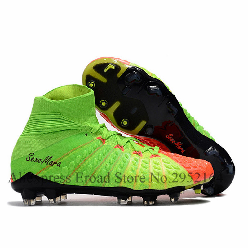 professional soccer shoes fg mens leather football cleats high ankle boots sapatos de futebol chuteiras chuteiras de inicializa<br>