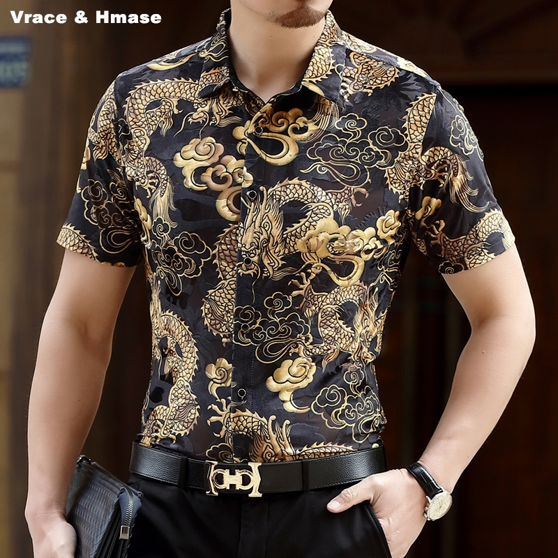 Chinese style Dragon totem pattern fashion slim short sleeve shirt Summer 2017 soft breathable hollow pleuche quality men shirt