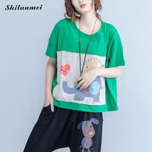 casual loose tshirt women 2017 summer cotton harajuku elephant print tops ladies green orange funny best friends t shirt femme
