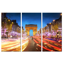 Paris Canvas Prints Avenue Des Champs Elysees Picture Wall Art Painting 3 Piece Bustling City Night View Poster Canvas(China)
