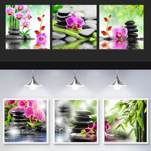 5D Triptych Home decor Crystal Diamond embroidery Mosaic painting Rhinestone pattern Cross stitch Bamboo butterfly orchid