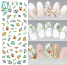 RU2PCS DS337 Water Transfer Nails Art Sticker Harajuku Elements Colorful Feather Leaf Nail Wraps Sticker Manicura Decal(China)