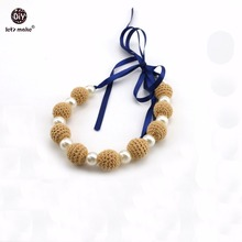 Let's Make Baby Nursing Necklace Pearl Chew Crochet Beads DIY Jewelry Accessories Montessori Pram Toy Teething Necklace(China)