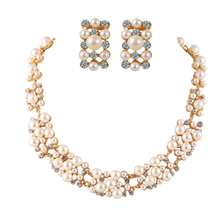 H:HYDE Women Elegant Charming Necklace Simulated Pearl Jewelry Set Flower Rhinestone Leaves Choker Faux Pearl Necklace Earrings(China)