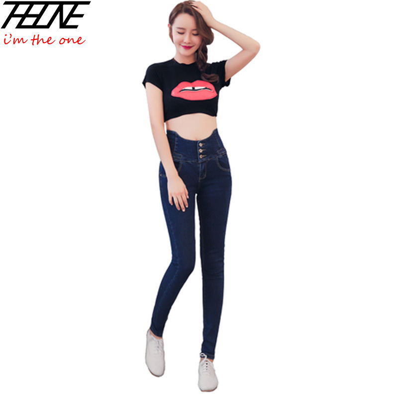 2015 New Winter Jeans for Women High Waist Denim Pants Elastic Waist Stretch Skinny Jeans Fashion Small Leg Pencil TrousersОдежда и ак�е��уары<br><br><br>Aliexpress