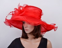Red formal Dress hat Organza hat sinamay hat for wedding church.