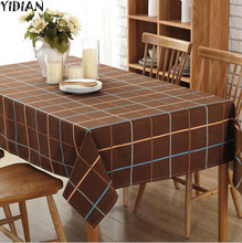 YIDIAN Mediterranean Cotton Polyester Table cloth White Plaid Printed Tablecloth Dustproof Table Cover Wedding Banquet