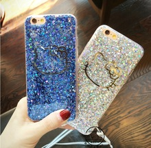 20% off buy 2pcs,Colorful Kitty Cat Head Bling Sparkling Glitter Soft TPU Back Shell Case with Dust Plug For iPhone 6 6Plus(China)