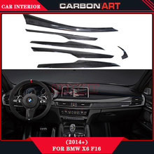 For BMW New X6 F16 Carbon Interior Parts Car Sticker 2015+ 6pcs With 3M Tape Auto Accessories Add on Trims