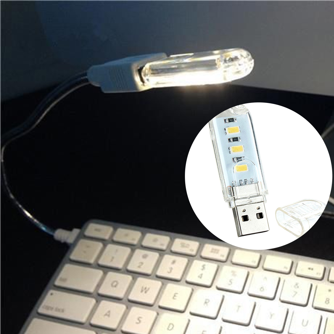 Hearty 10pcs Black Led Lamp Bulb Keychain Pocket Card Mini Led Night Light Portable Usb Power Integrated Circuits