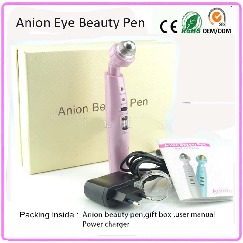 Vibration Bio Microcurrent Eye Lifting Skin Tightening Anion Eye Wrinkle Care Beauty Massager Roller Pen With Light Therapy<br>