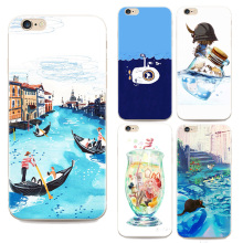 2016 New Top For Apple Iphone 6 6s Fashion Cartoon Sea Case Drift Bottles Blue Sea For Iphone 6 Cases 4.7 Inch Tpu Soft Shell