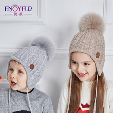 ENJOYFUR Ages 2-8 baby hat Children Winter Hats For Girls&Boy Cotton Thick Warm Knitted Ears Beanie Fox Fur Pompom Cap(China)