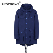 BINGHEDIDAI Winter Jackets Men's Clothing Long Jacket leisure Spring And Autumn Thin Boutique  Men's Windbreaker Brand Clothing