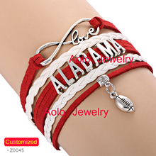 6Pcs/Lot ALABAMA Football Infinity Bracelet Red/white Make Your Own Design Drop Shipping(China)