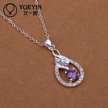 Hot marketing  Innovative style jewelry Silver jewelry chain purple crystal necklace jewelry  women gift for wife