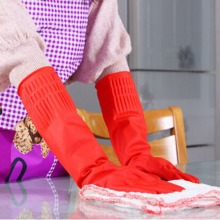 Winter Warm Kitchen Wash Dishes Cleaning Waterproof Long Sleeve Rubber Latex Gloves Tool wx003(China)