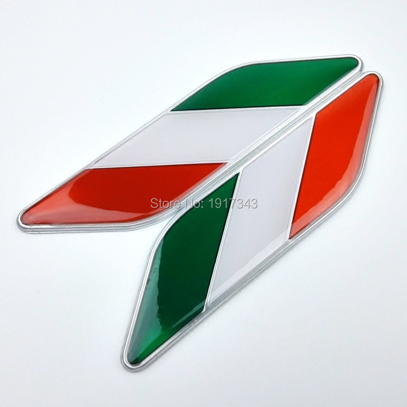 2X Car Styling 3D Aluminum+Epoxy Italy Italian Flag Fender Emblem Badge Decal Sticker Fit For Fiat Panda Punto 500 VW Golf Polo(China (Mainland))