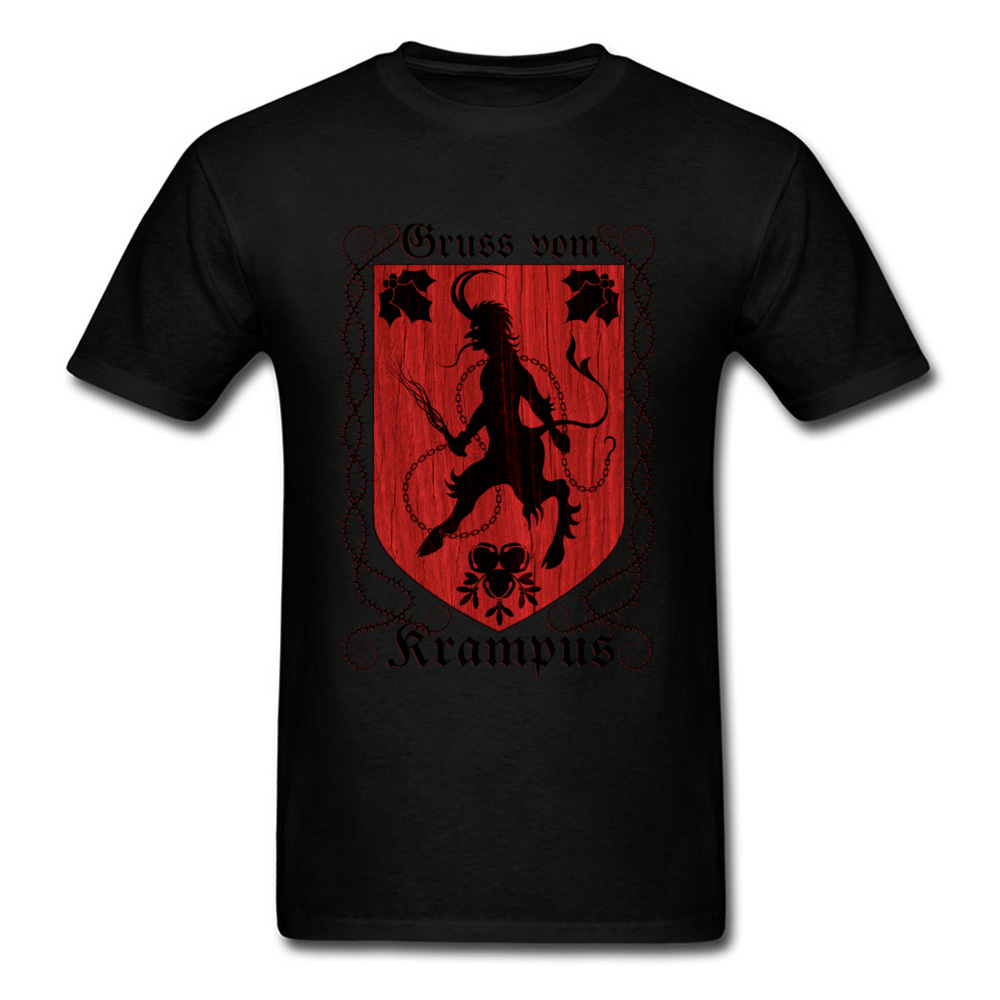 Greetings From Krampus Mens Tshirt Fitted Normal Tops Shirt ostern Day Cotton Fabric Round Collar Tee Shirts Short Sleeve Greetings From Krampus black