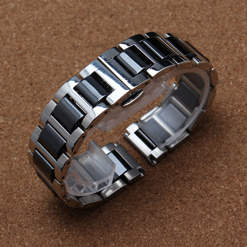 16mm 18mm 20mm Black Watchband high quality Watches Bracelet Ceramic Watchbands stainless steel buckle silver metal deploy<br><br>Aliexpress