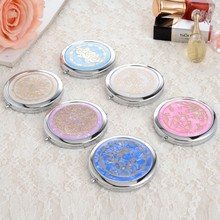 1pc Shell Printing stainless steel pocket mirror Two sided makeup mirror cosmetic compact mirror miroir de poche espelho(China)