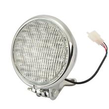 Hot sale! Universal Custom Chrome Motorcycle Headlight Lamp 12V LED Bulb Driving Light For Harley Yamaha Kawasaki Chopper Street