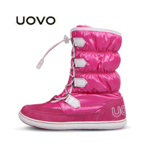 2016 New UOVO Pink Snow Boots girls Waterproof boot Ski Cloth shoes mid-calf bungee lacing boots Children Boots