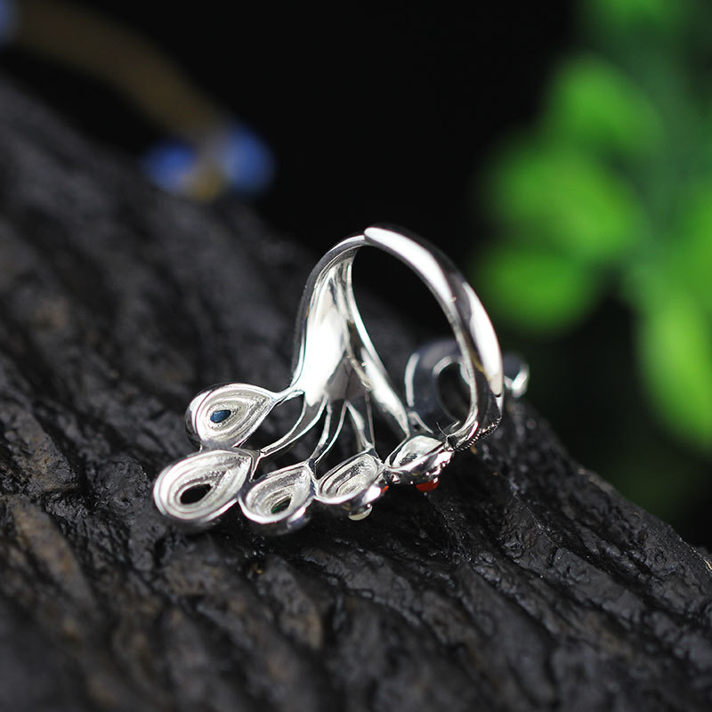 High Quality 925 Sterling Silver Peacock Ring