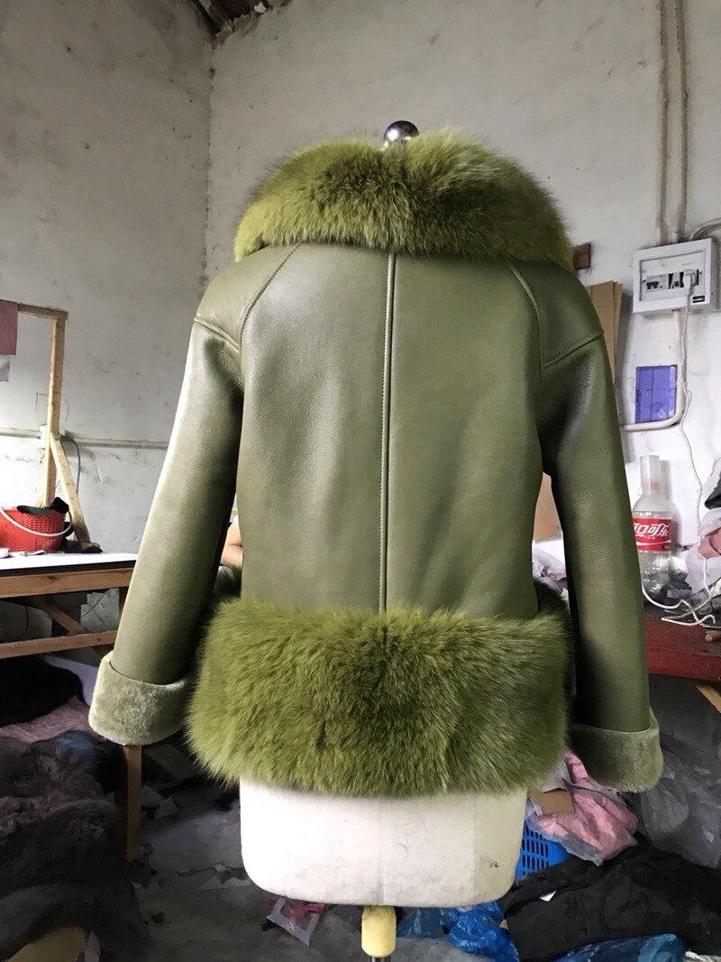 genuine sheep leatherskin jacket fox fur cooar coats (18)
