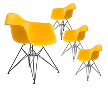 4 PCS chair Set Black powder coating leg PP Plastic Seat modern design minimalist Dining Chair Replica Chair loft chairs 4PCS