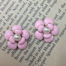 "20Pcs 20mm "" Pink Flower  "" (No Hole ) Glass Pearl & Glazing & KC Gold Alloy Charms Jewelry Pendants"