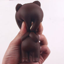 Stress Reduced Funny Bear Toy Gags Practical Jokes Squishy Soft Brown Bear Slow Rising Stress Relief Squeeze Toy Cellphone Strap(China)